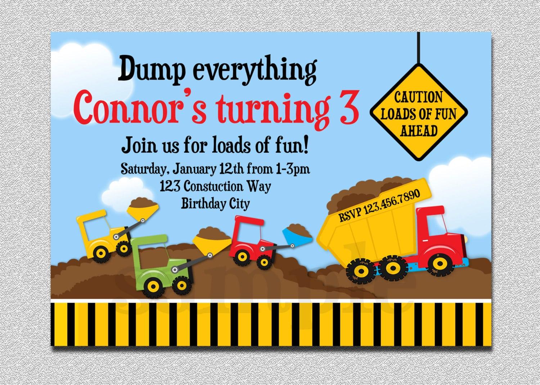 Dump Truck Construction Birthday Invitation Dump Truck