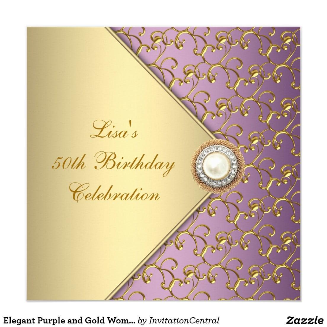 Elegant 50th Birthday Party Red Black Gold Damask Card
