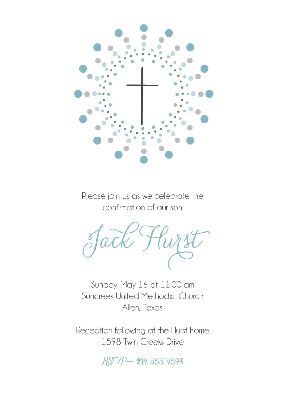Elegant Damask Frame Communion Invitations