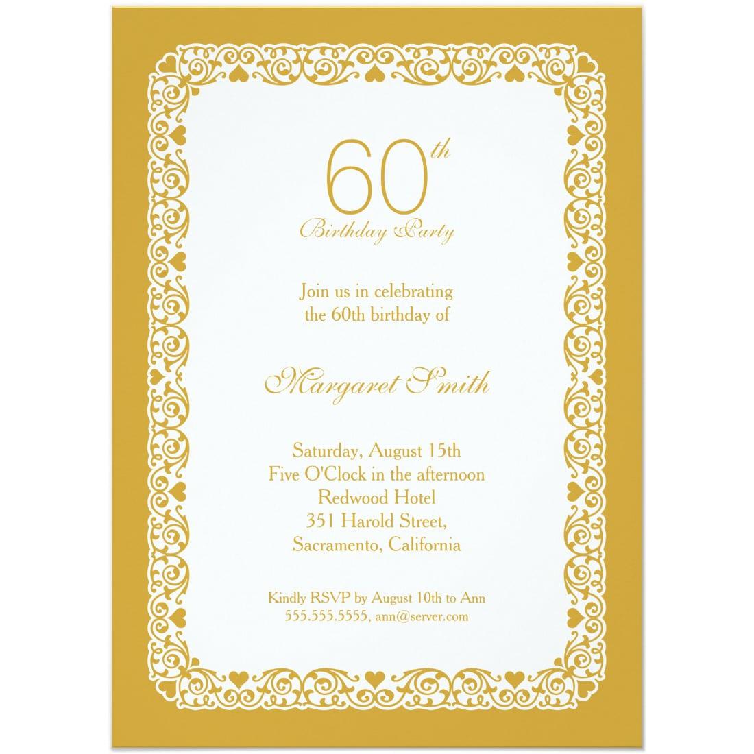 Elegant Personalized 60th Birthday Party Invitations
