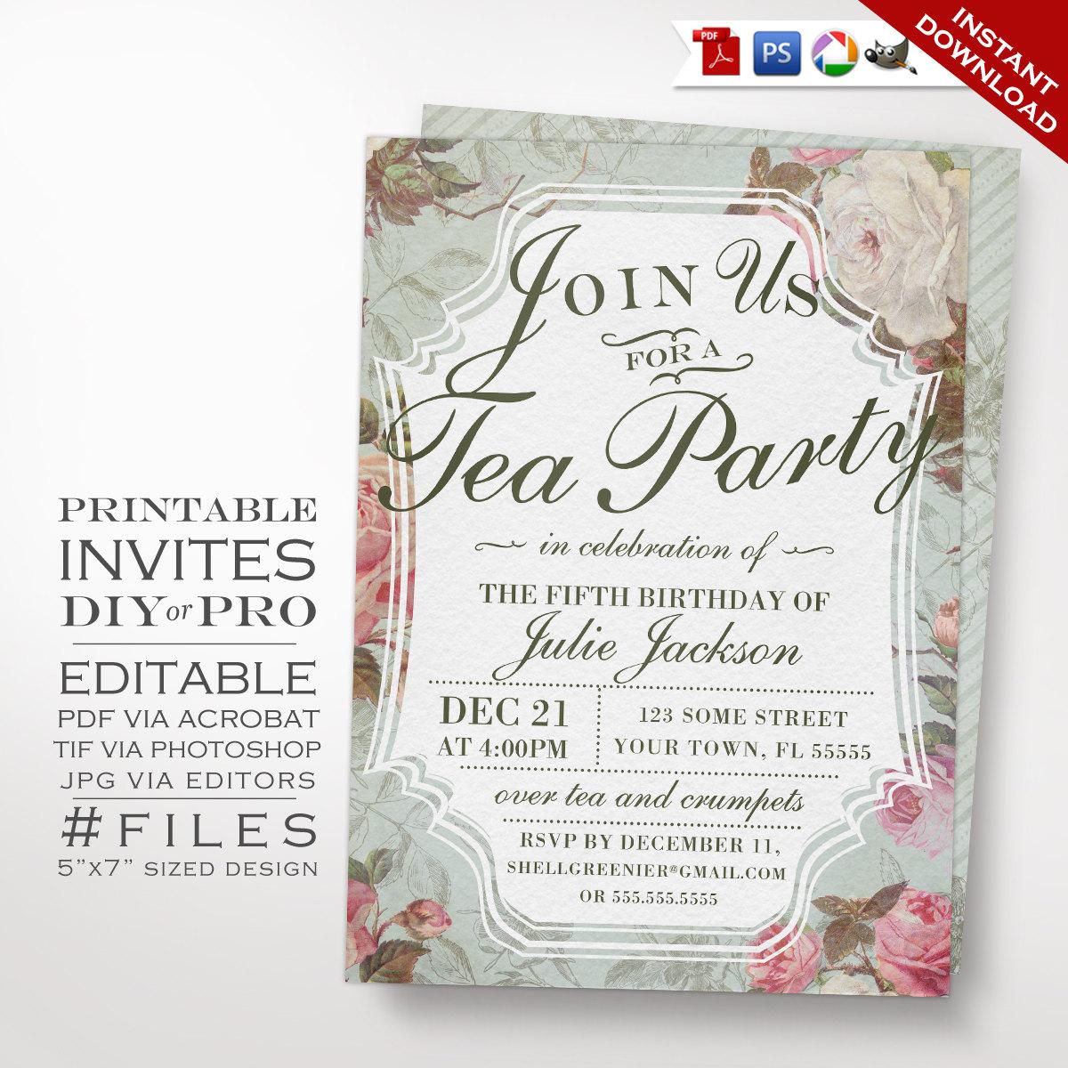 Elegant Tea Party Invitations 94957