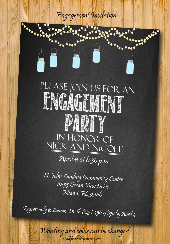Engagement Invitation Engagement Party Invitation Custom