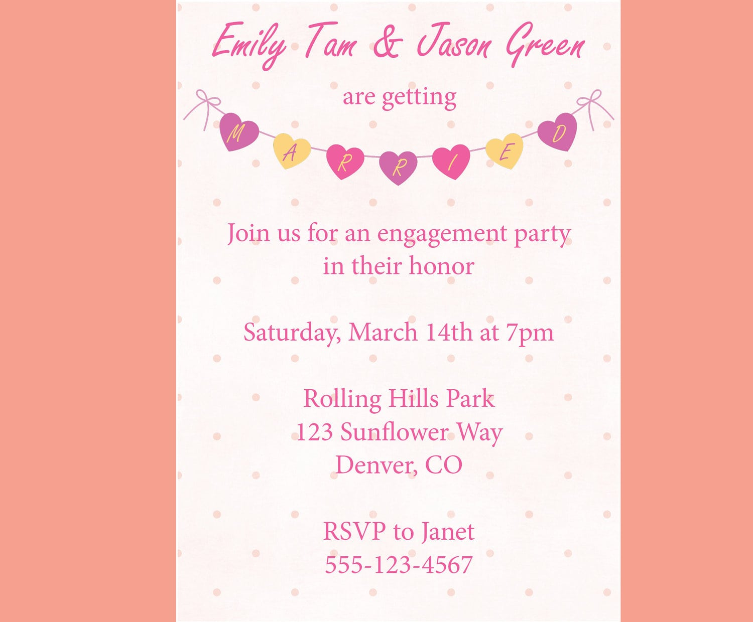 Engagement Party Invitation Heart Banner Cute Whimsical