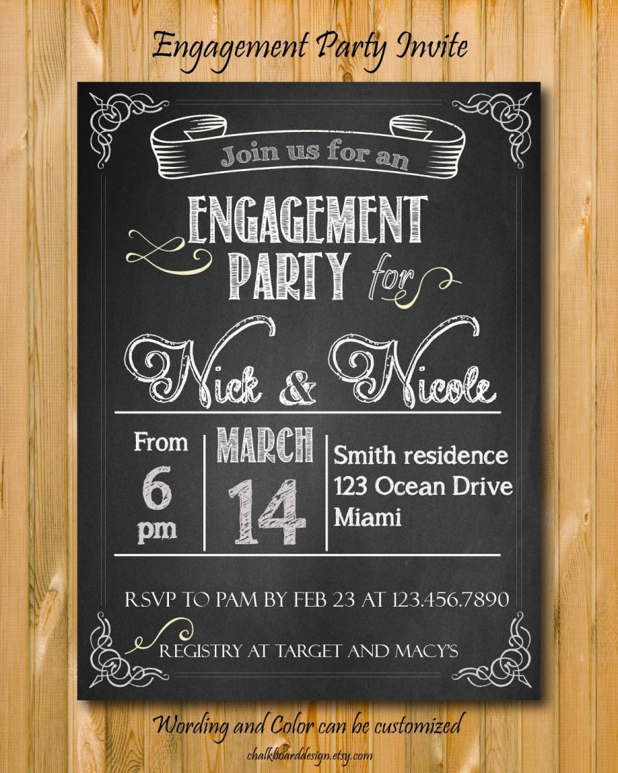 Engagement Party Invitation Printable, Custom Chalkboard Invite