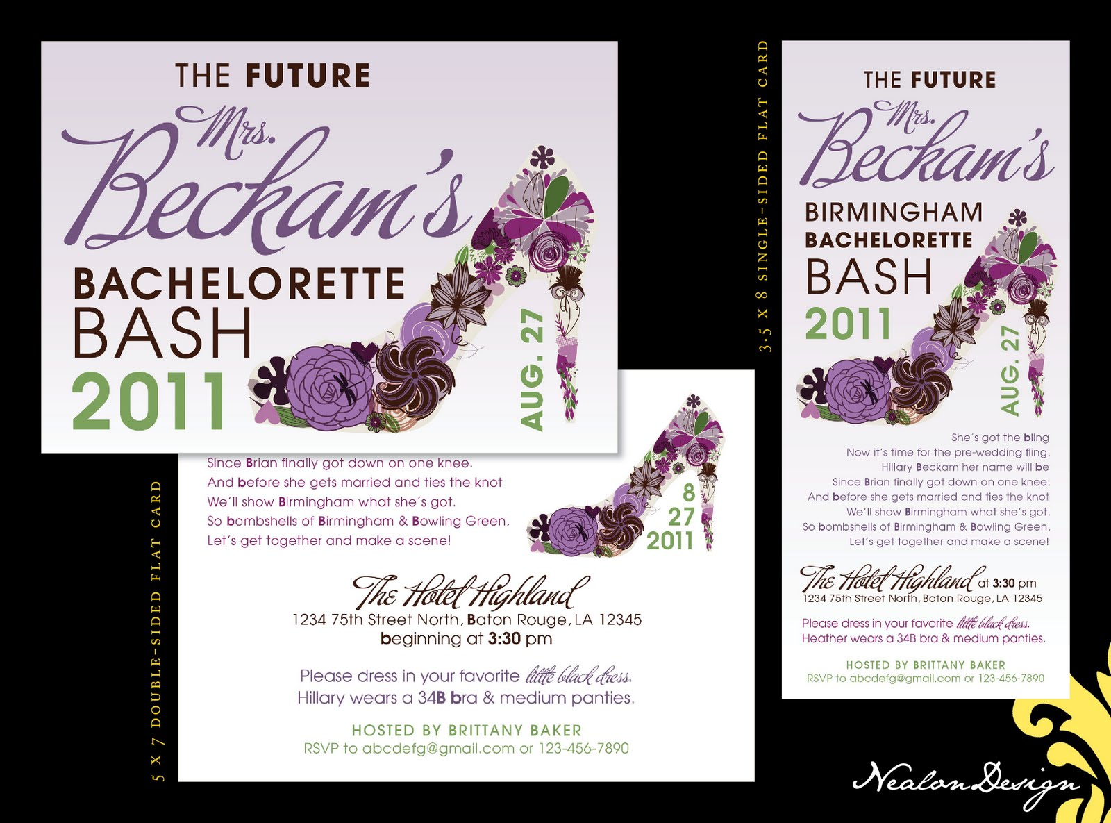 Excellent Bachelorette Agenda Party Invite Card Example And Black