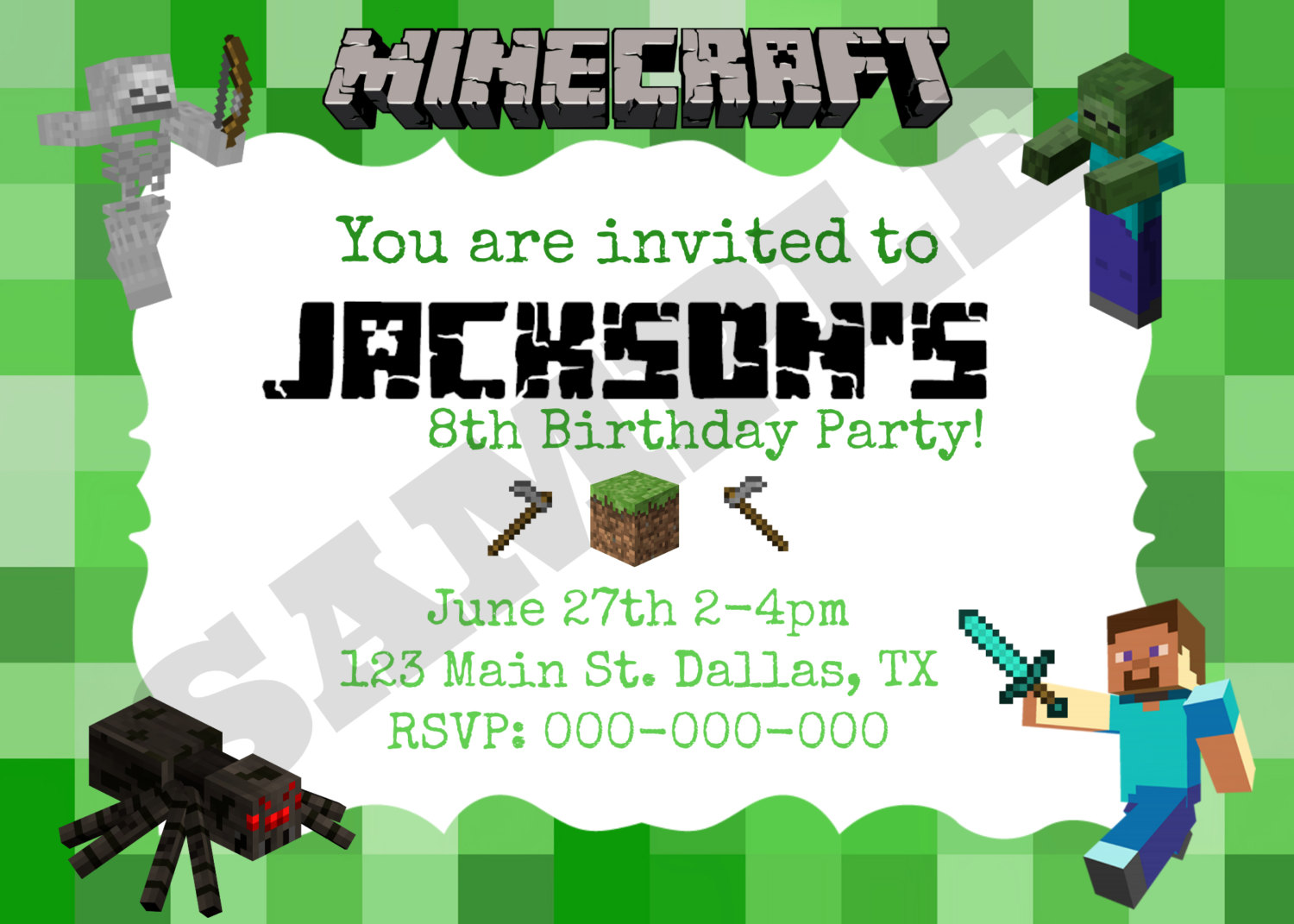 Excellent Free Minecraft Party Invitation Template 5 According