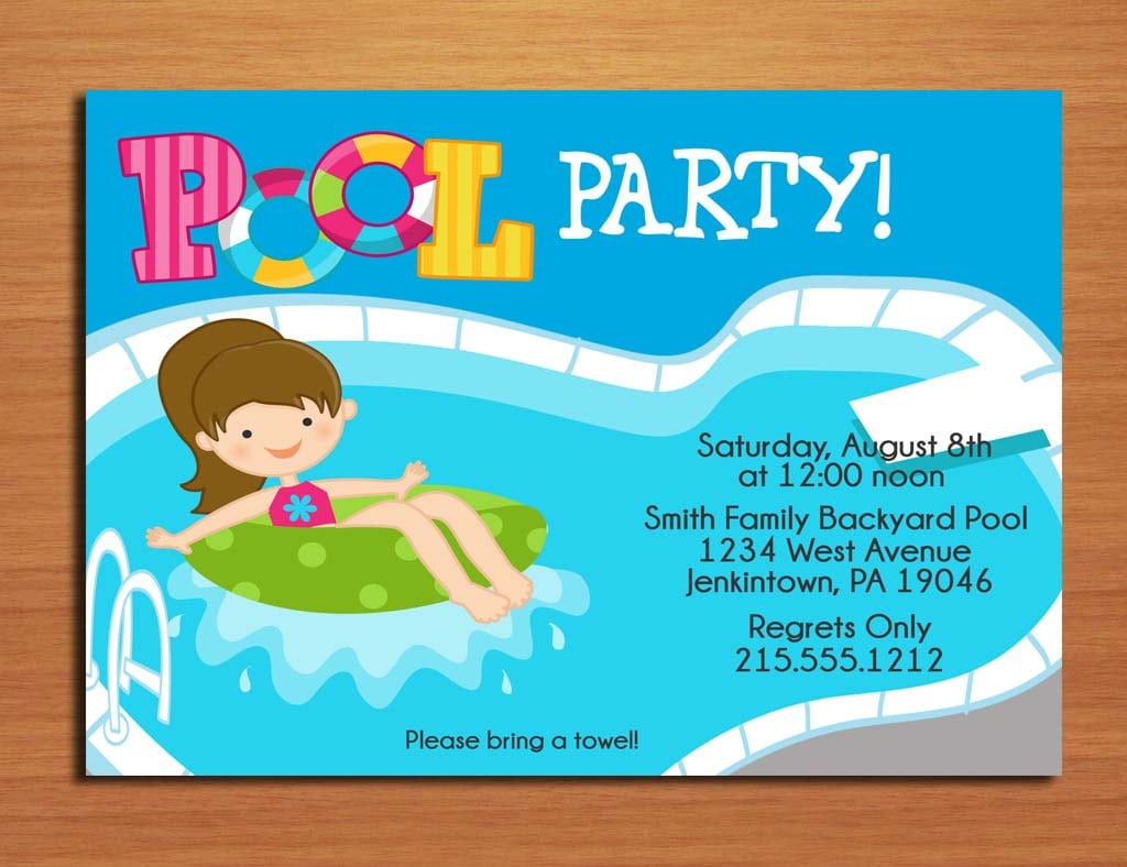 Exceptional Free Printable Pool Party Invitation Templates Along