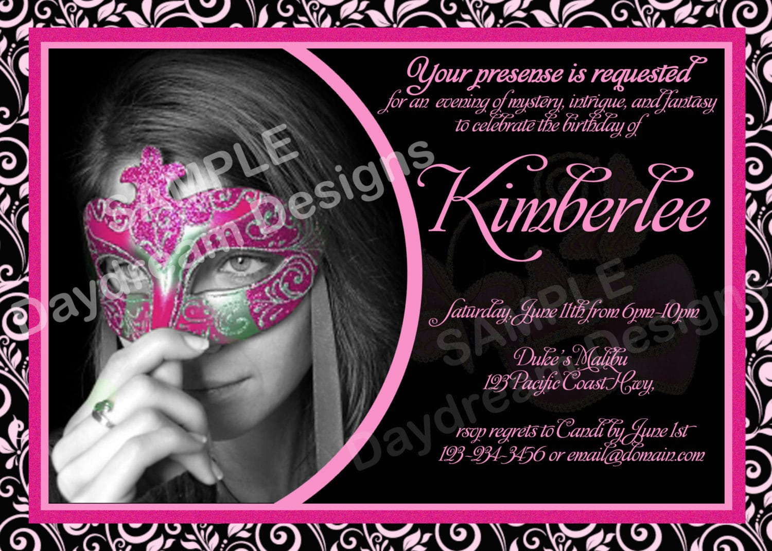 The Masquerade Party Invitations Templates sample receipt sample ...