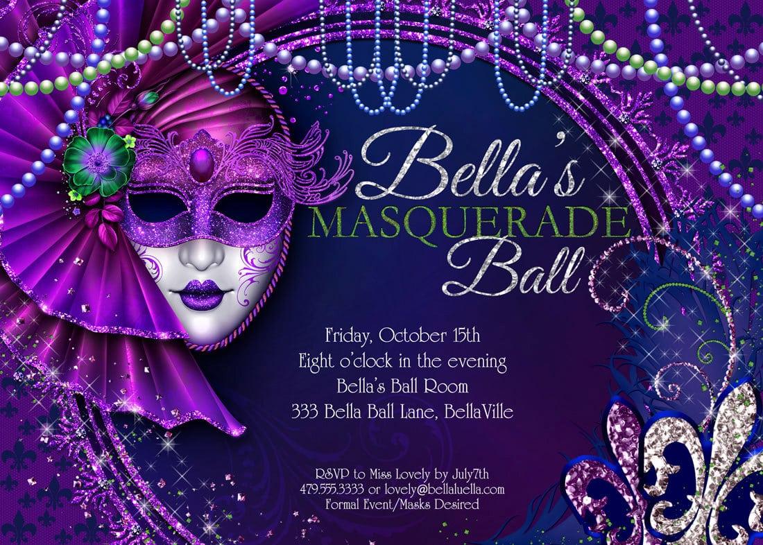 Fancy Mardi Gras Masquerade Party Invitation Card Design With