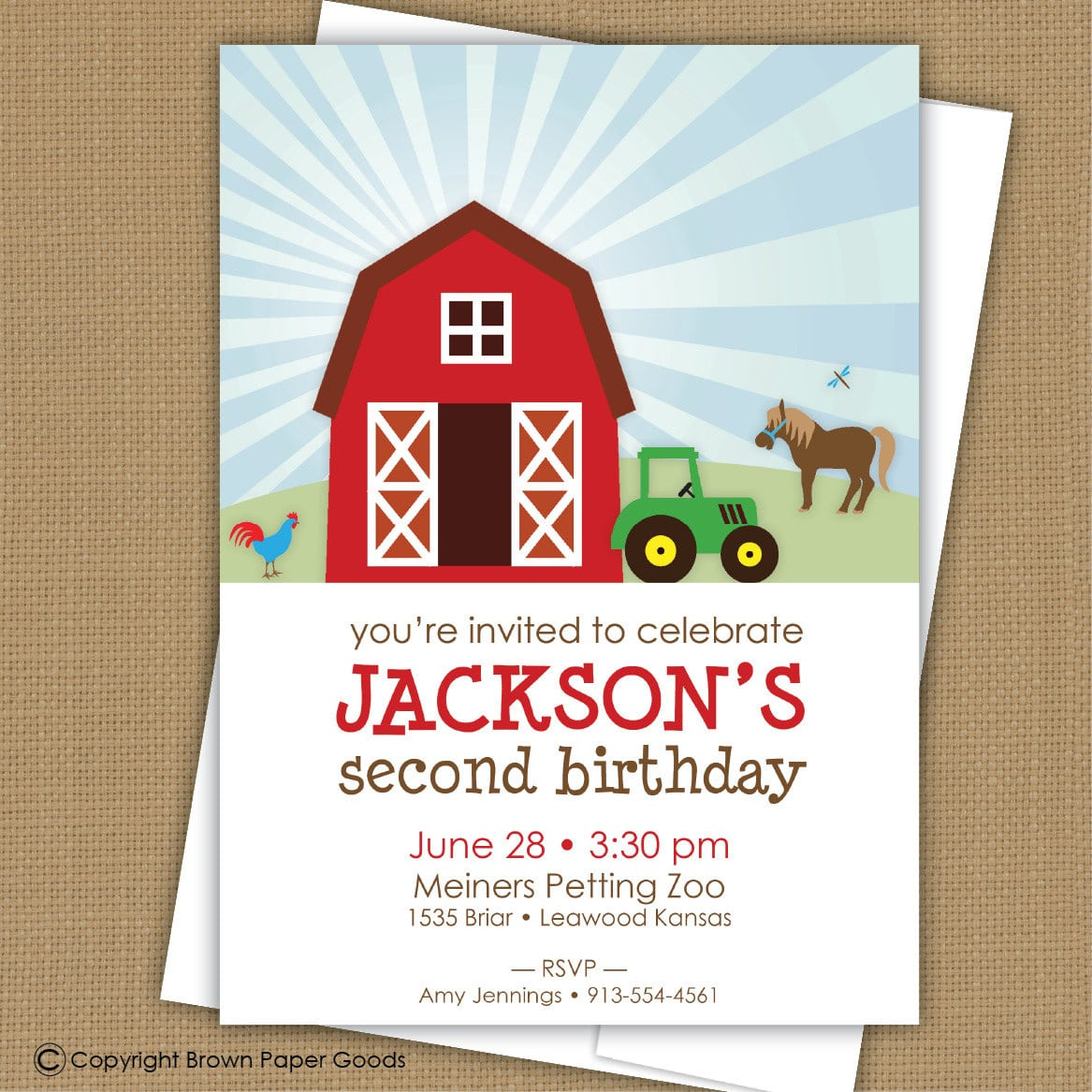 Farm Birthday Invitation  Barnyard Invitation