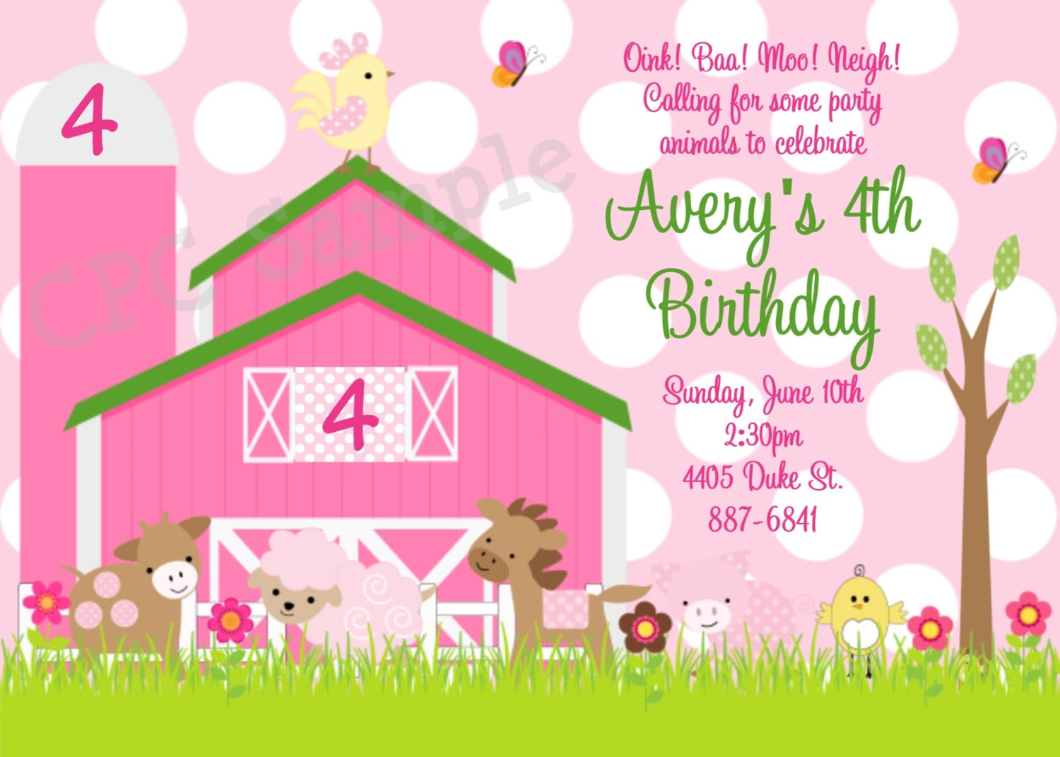 Farm Birthday Party Invitations