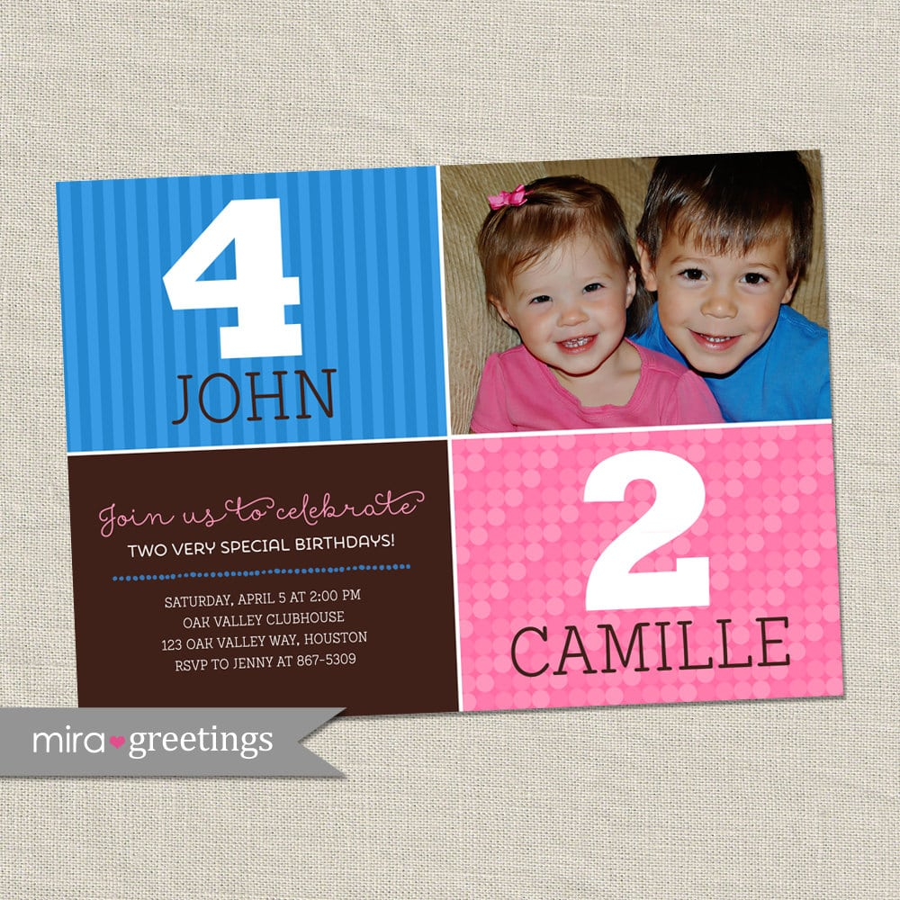 Fearsome Sibling Birthday Party Invitations