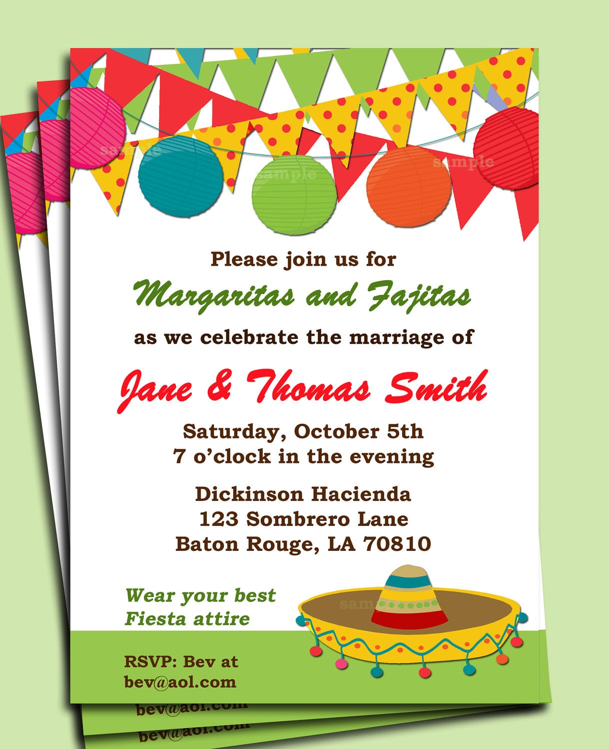 Fiesta Party Invitation Printable Or Printed With Free