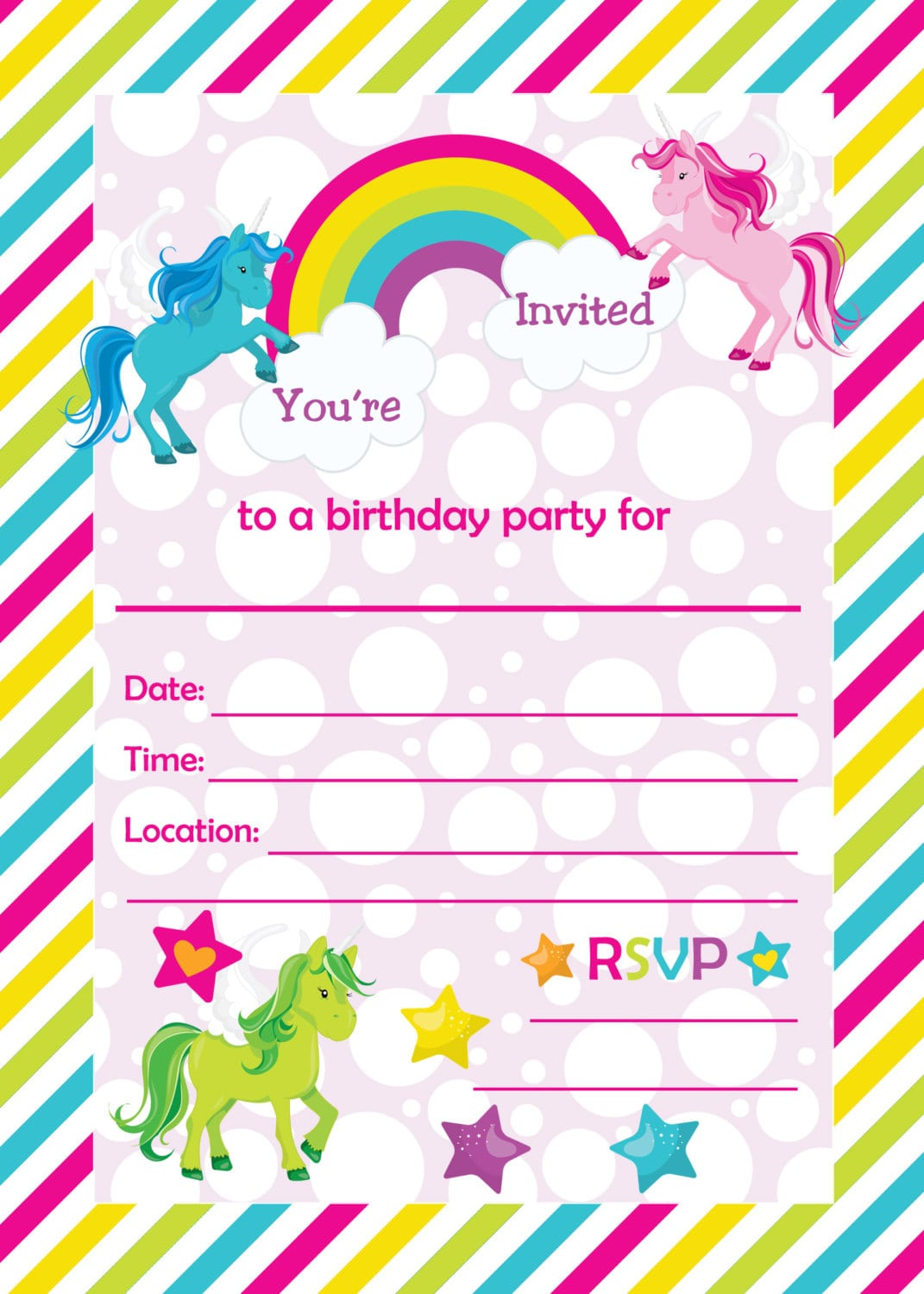 Fill In Birthday Party Invitations, Printable Rainbows And
