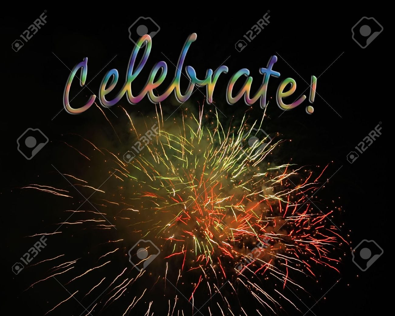 Fireworks Display With Celebrate Text, Good For Party Invitations