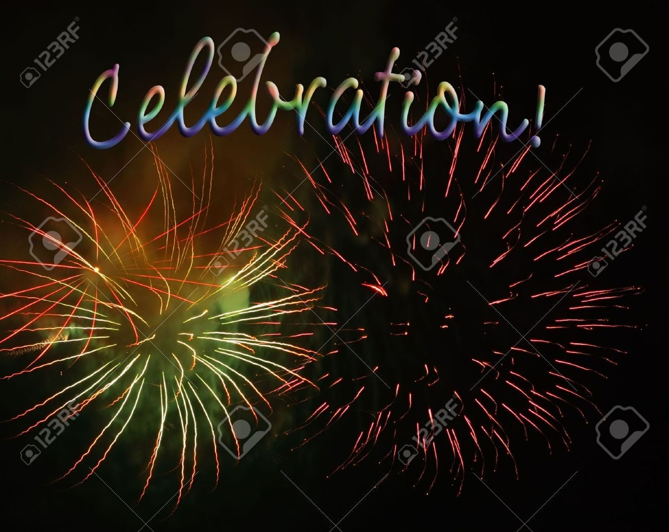 Fireworks Display With Celebration Text, Good For Party