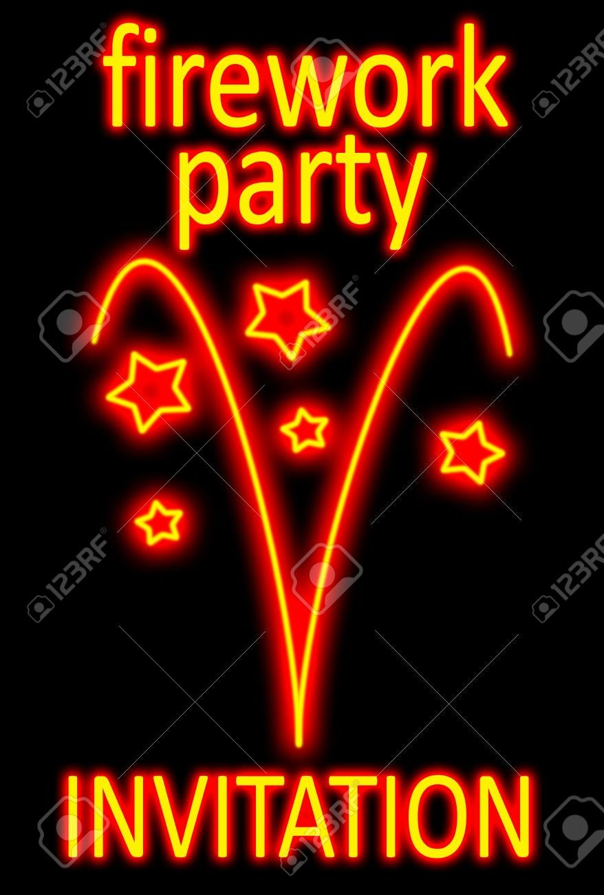Fireworks Party Invitation In A Neon Sign Style Stock Photo
