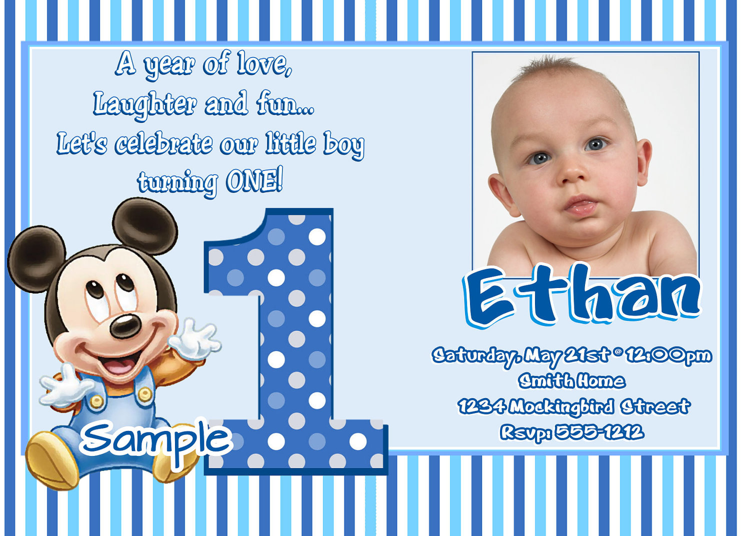 First Birthday Party Invitations Wording - Mickey Mouse Invitations ...