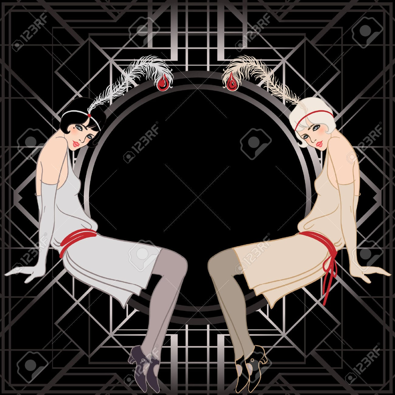 Flapper Girl  Retro Party Invitation Design  Vector Illustration