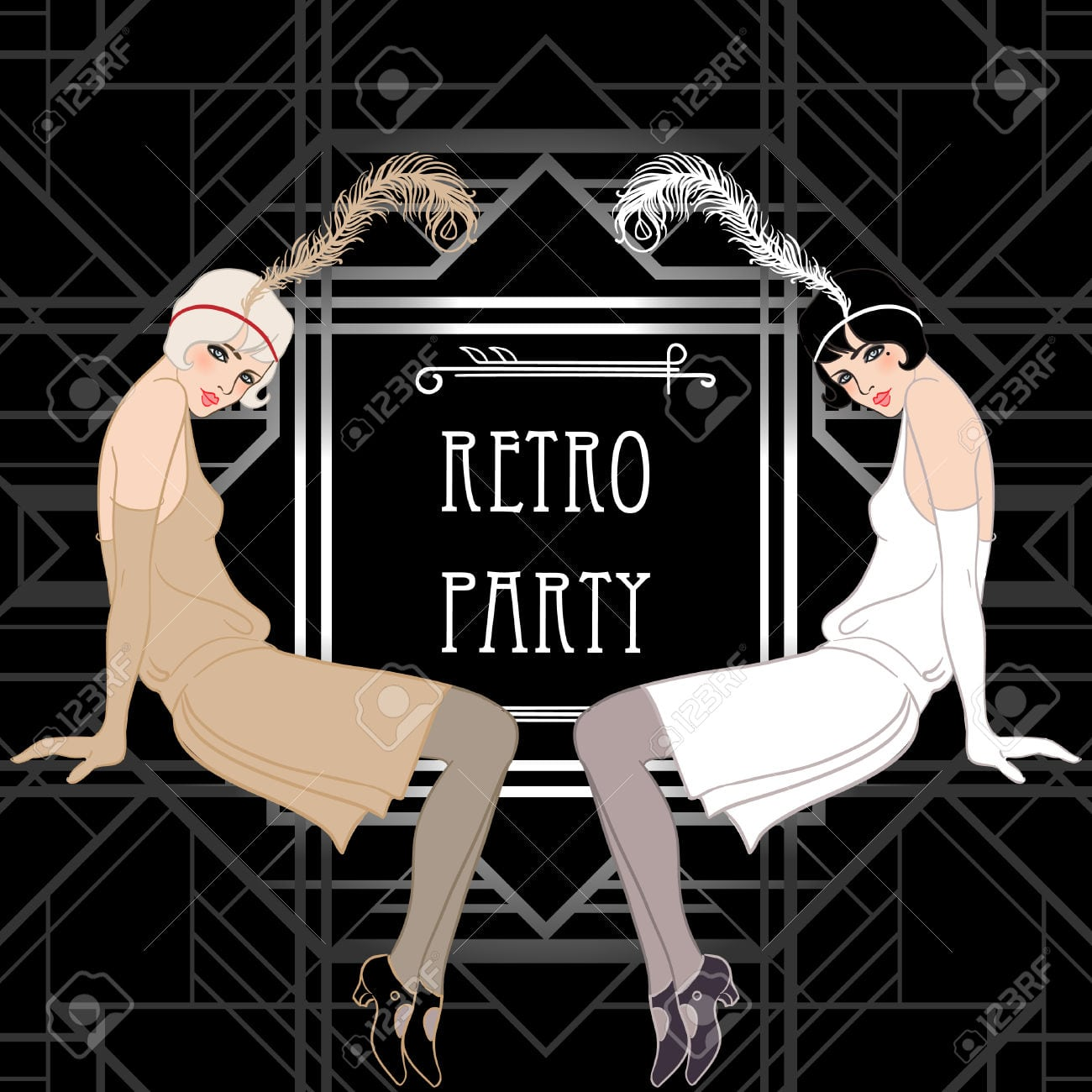 Flapper Girl  Retro Party Invitation Design  Vector Illustration