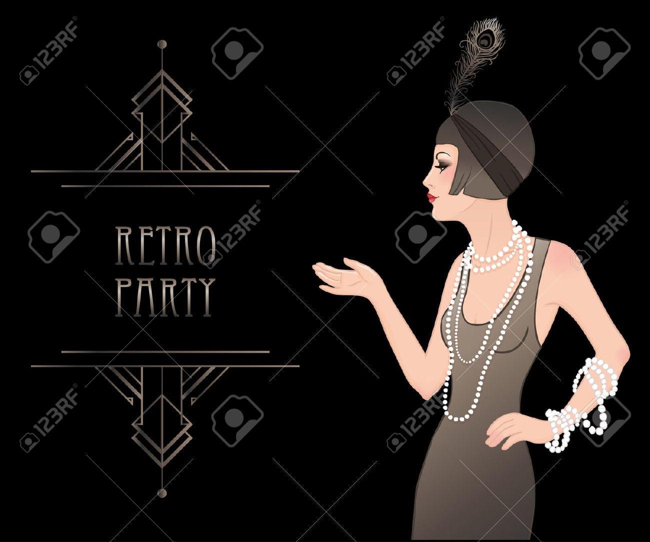 Flapper Girl  Retro Party Invitation Design Template  Vector