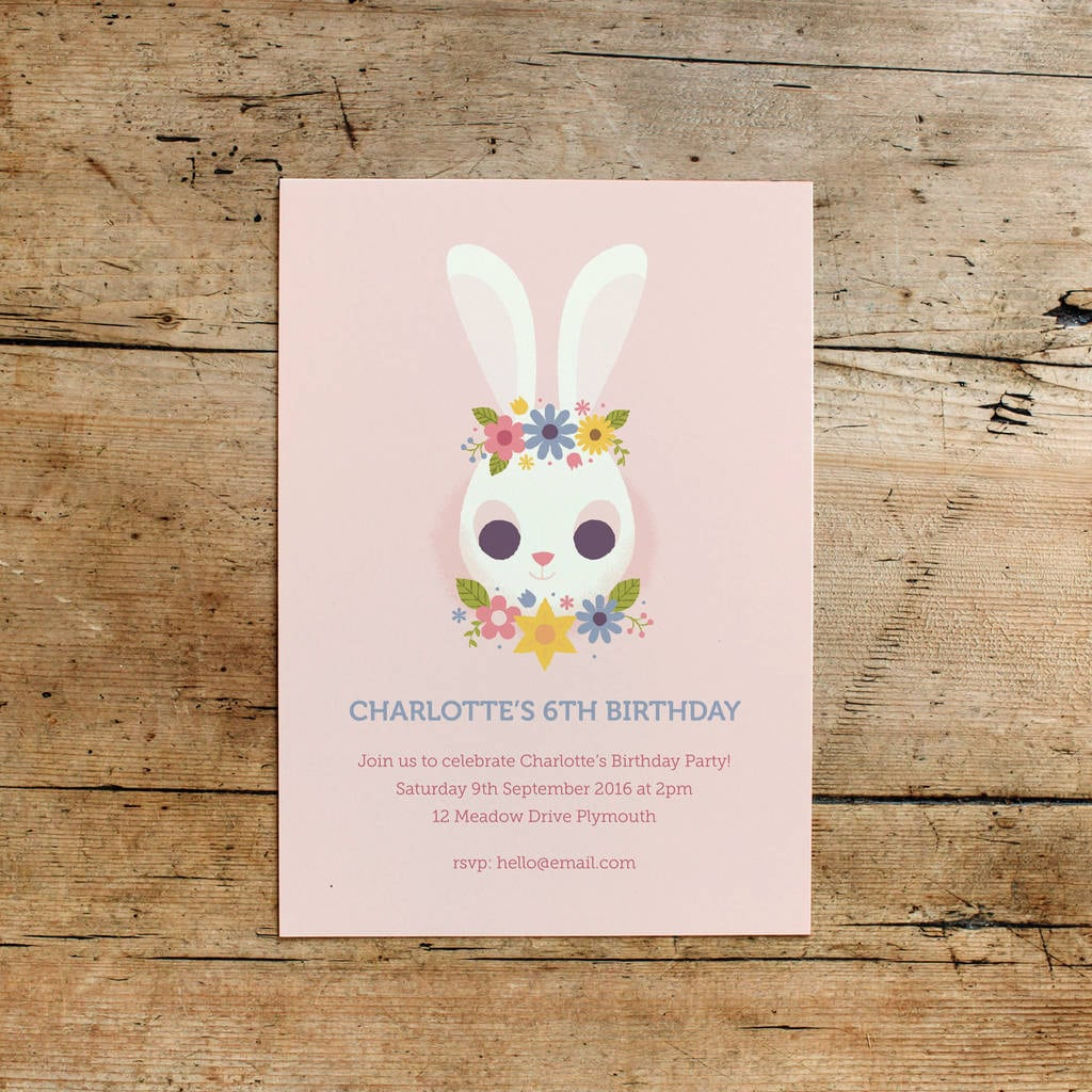 Floral Bunny Children's Birthday Party Invitations By Dearly