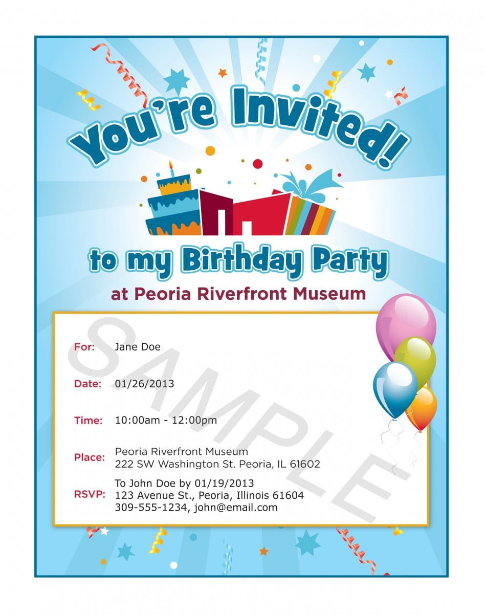 Format Invitation Card Birthday Party  First Birthday Invitation