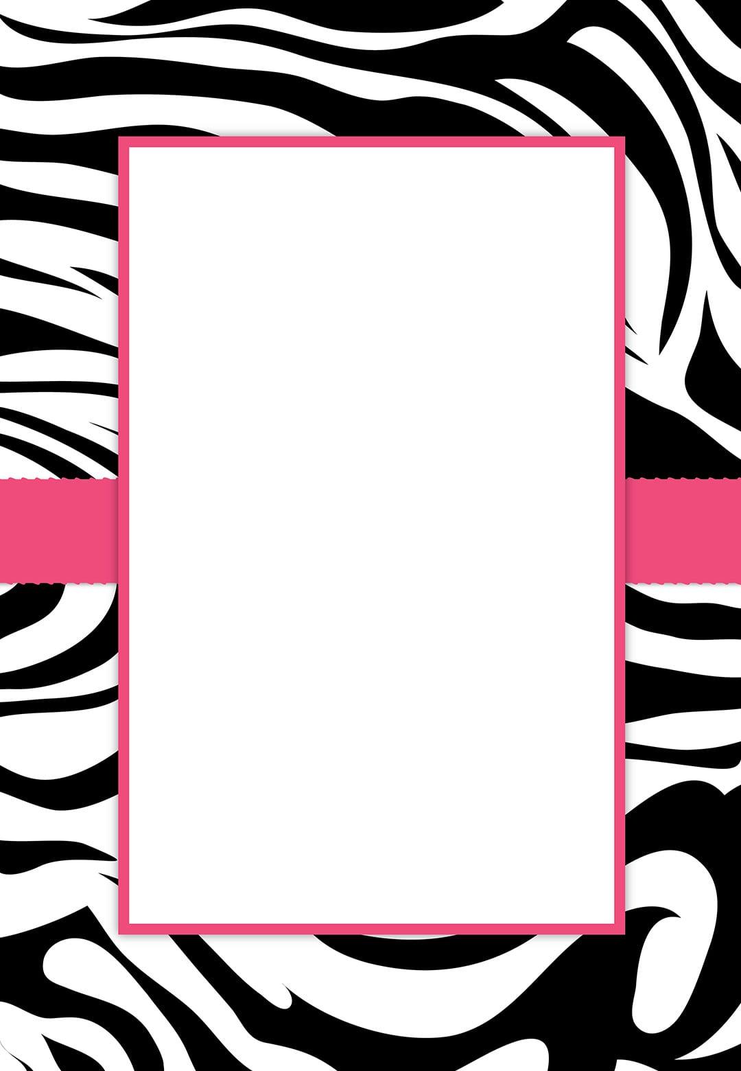 Free  Printable Customizable Zebra Stripes  Party Invitation