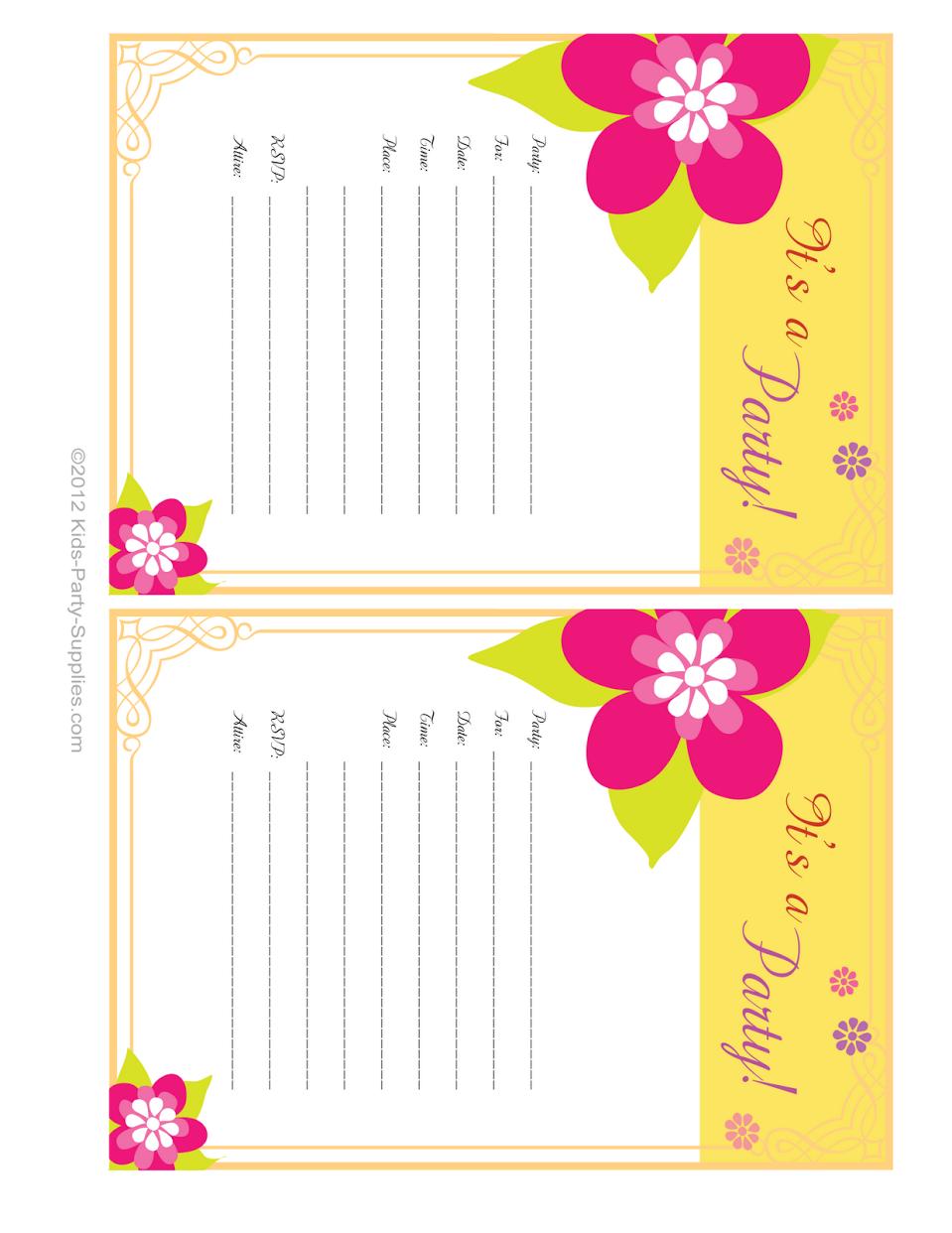 Free Birthday Party Invitations Printable