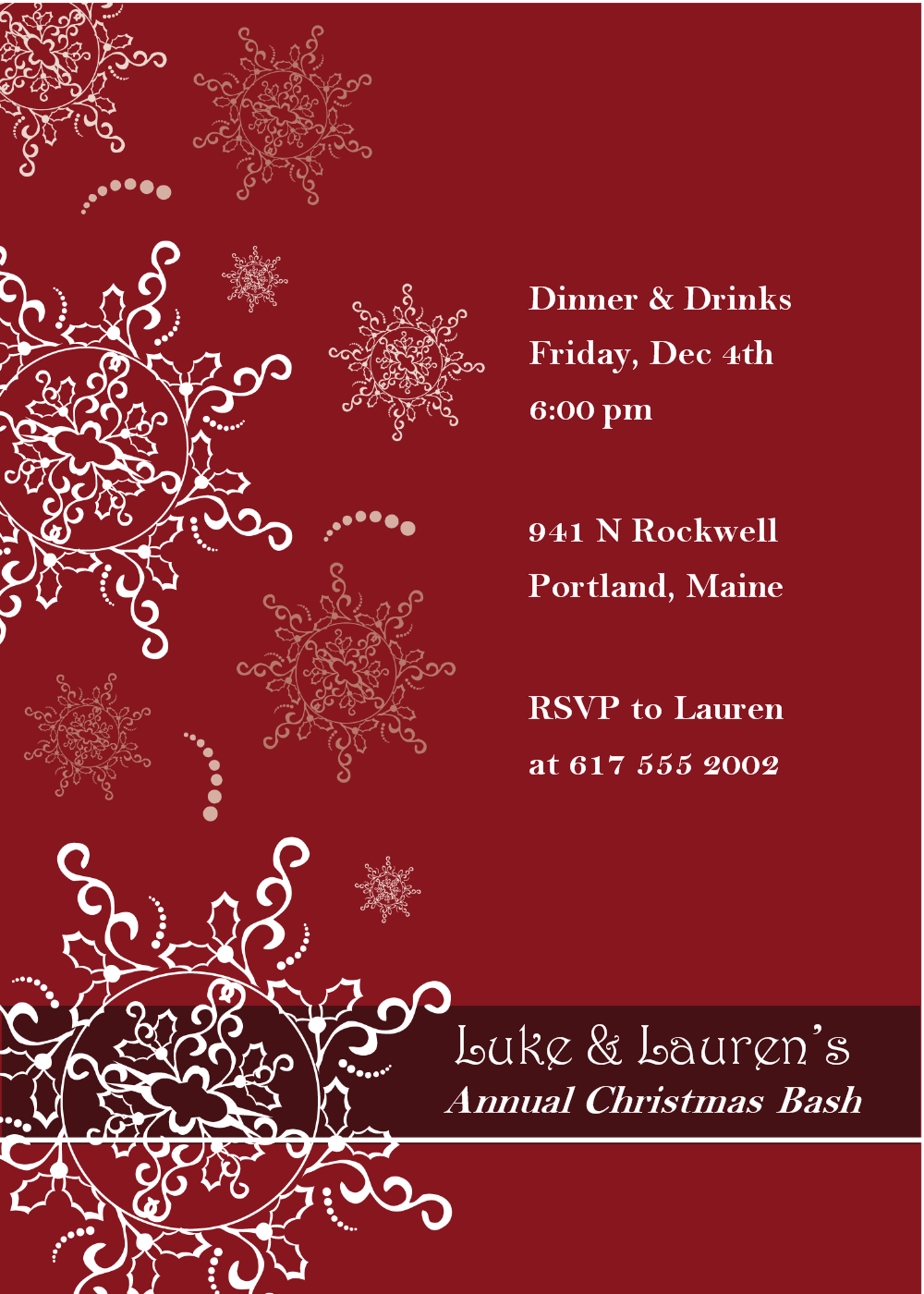 Free Christmas Invite Templates  Party Wording Messages Greetings