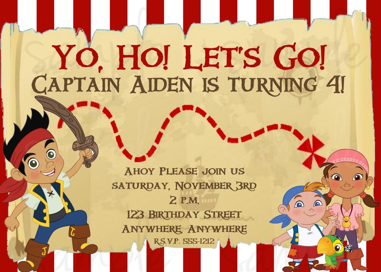 Free Jake And The Neverland Pirates Birthday Invitations