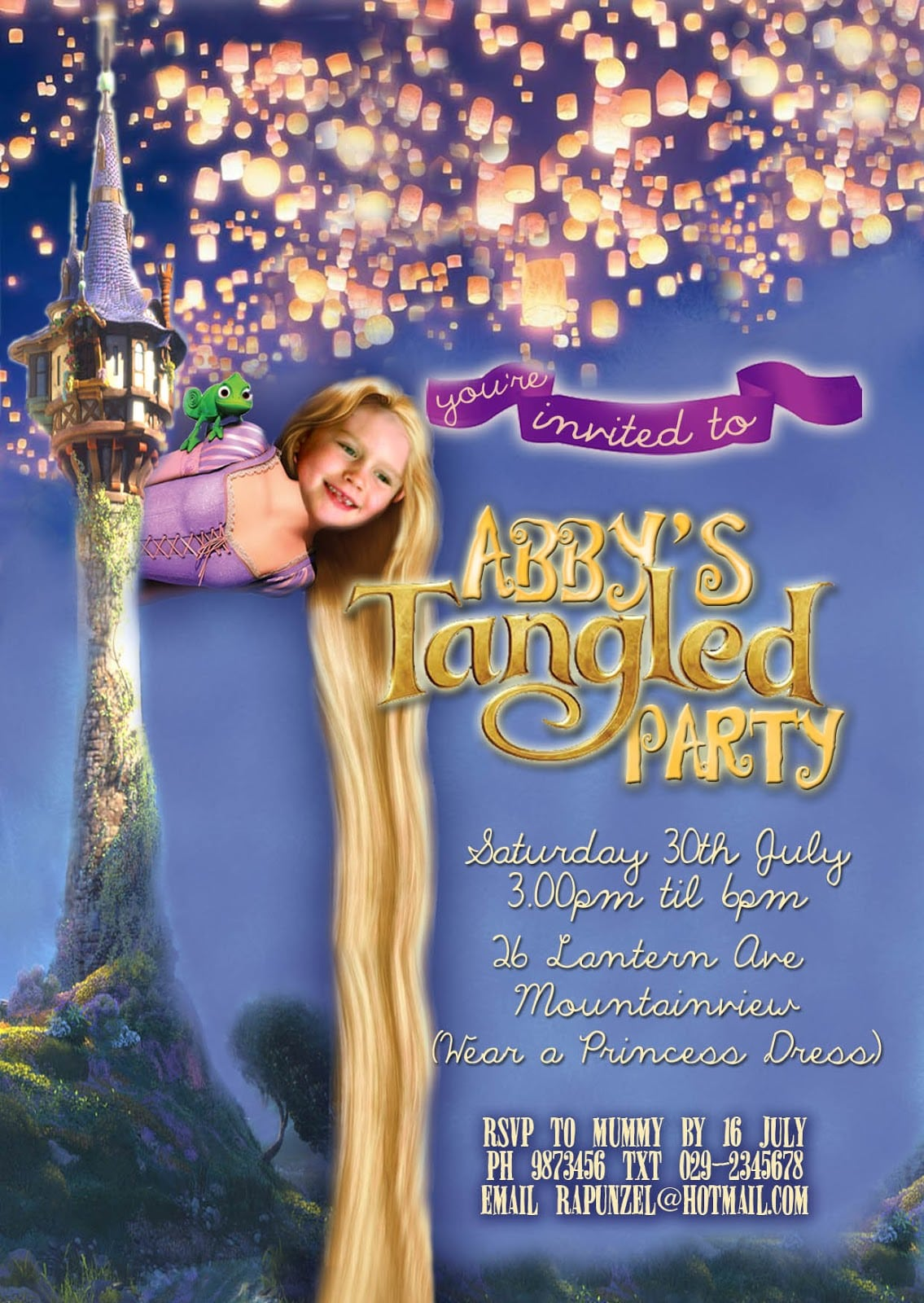 Free Kids Party Invitations  Tangled Party Invitation
