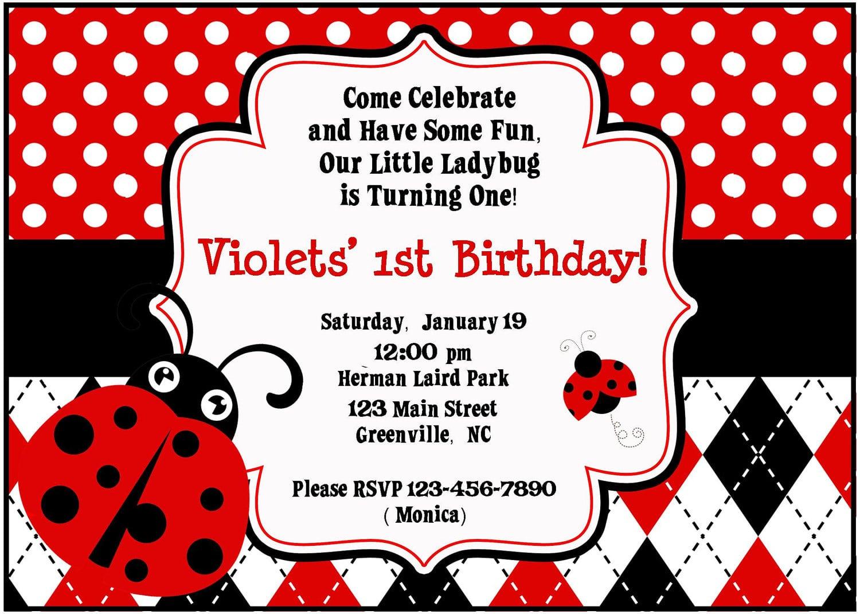 Ladybug invitations 1st birthday