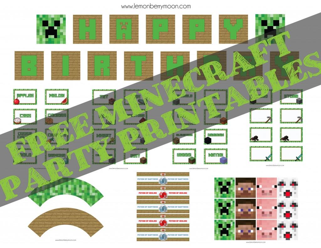 Free Minecraft Party Printables – Lemonberrymoon Com