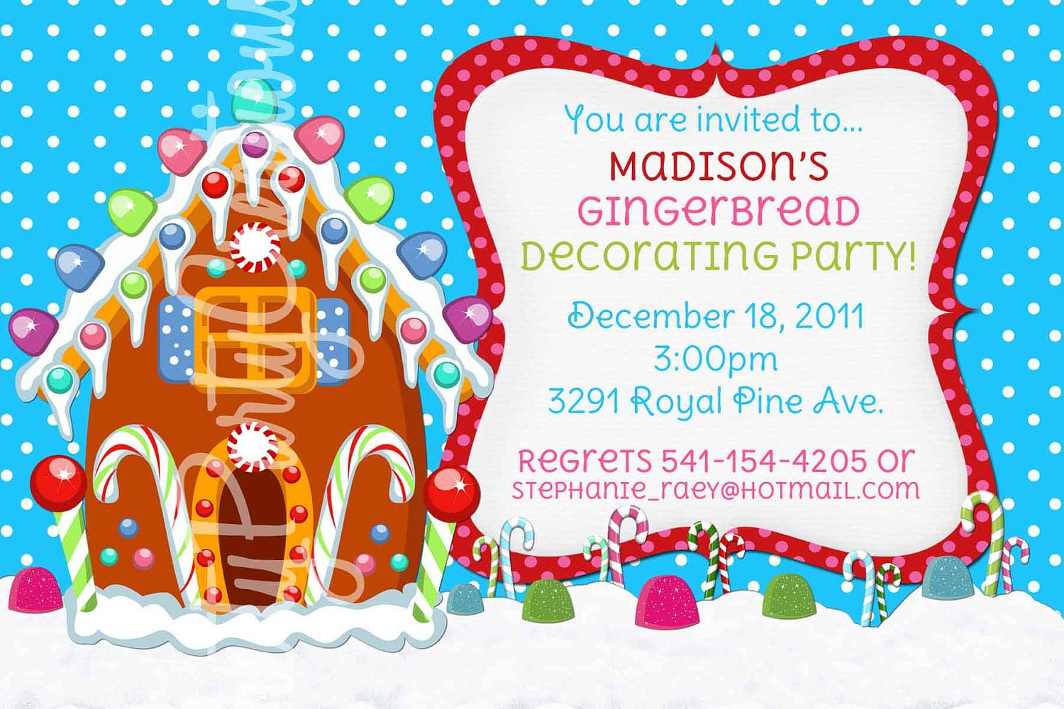 Free Printable  Gingerbread House Decorating Party Invitation