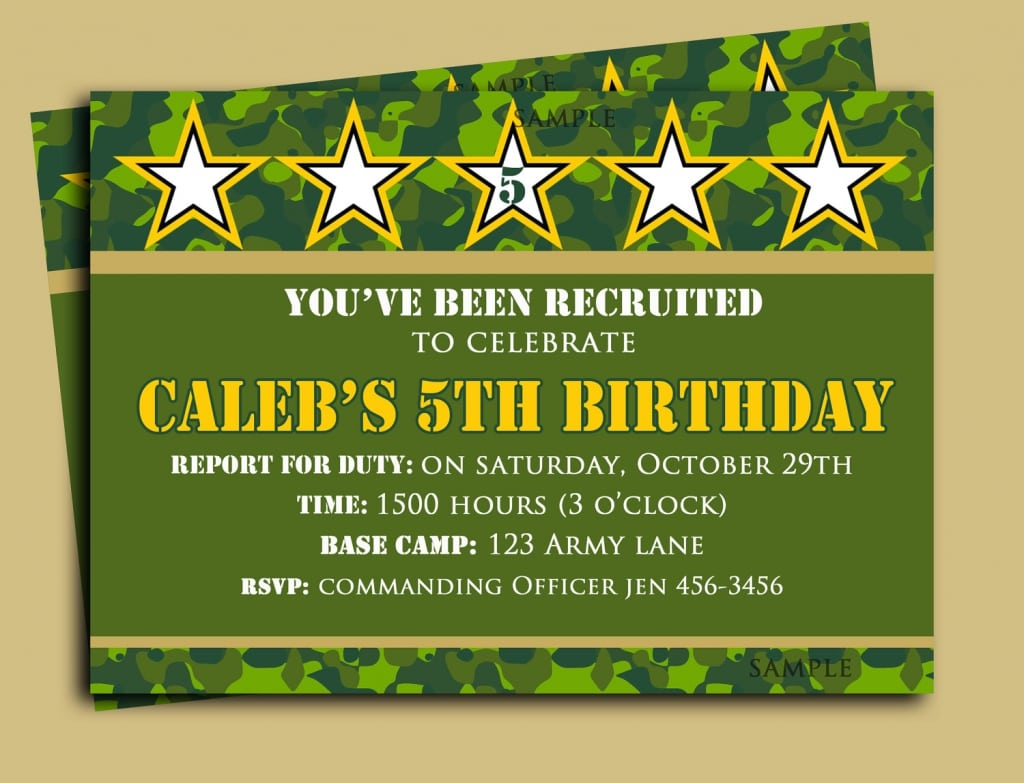 Free Printable Army Birthday Party Invitations  Obstacle Course