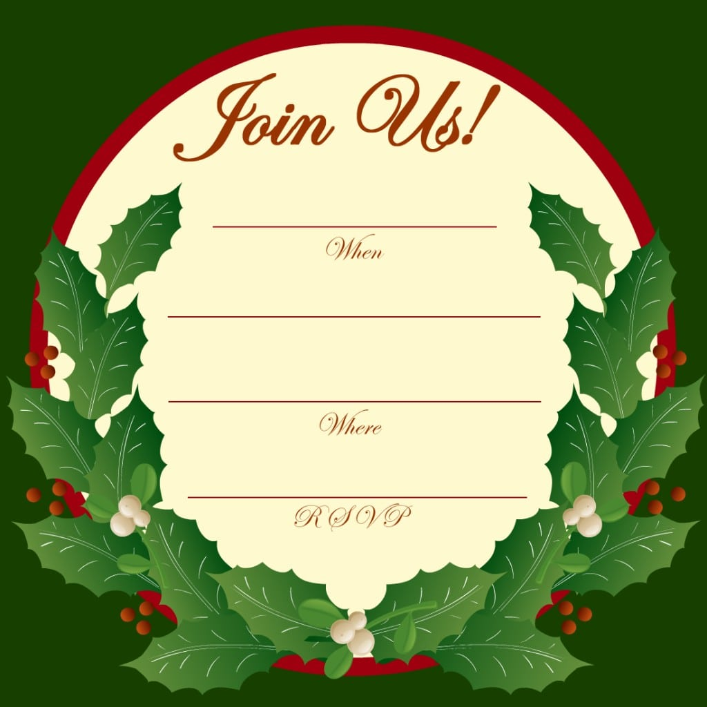 Free Printable Christmas And New Year Party Invitations