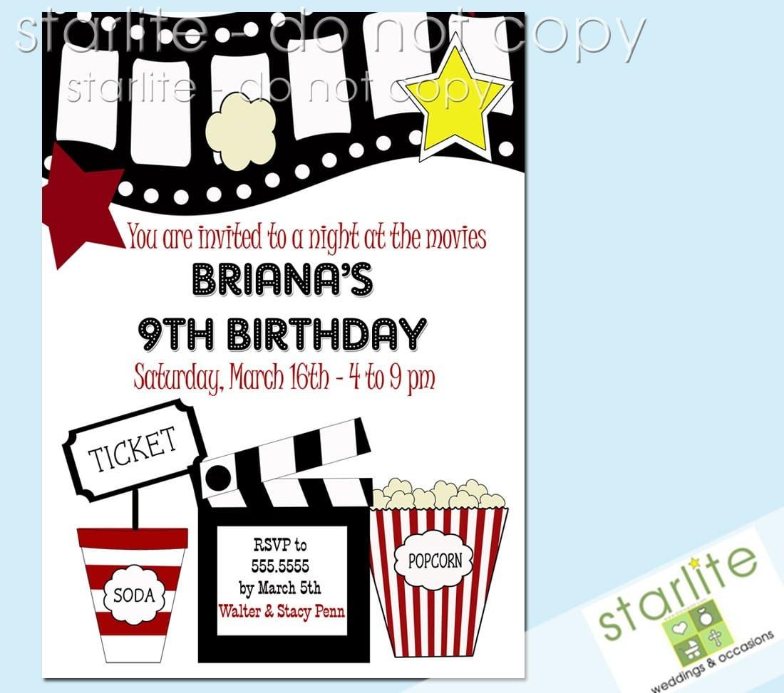 Free Printable Movie Birthday Party Invitations Mickey Mouse  Movie Night Invitations Free Printable