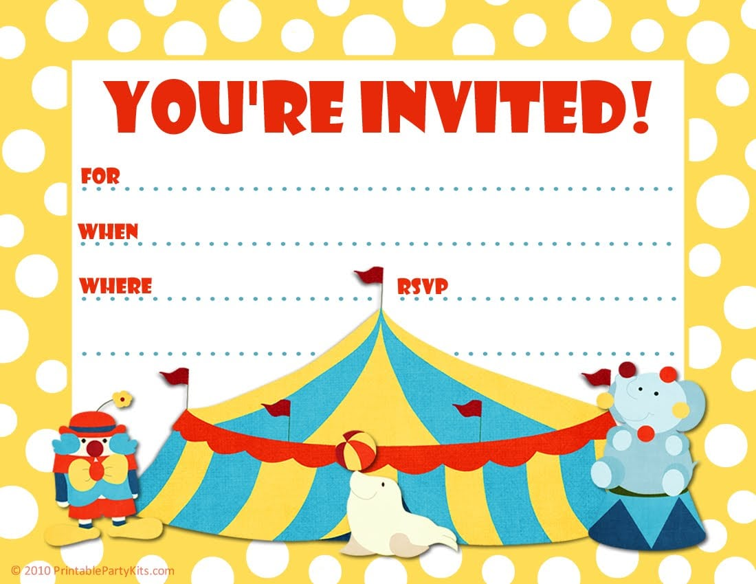 Free Printable Party Invitations  Big Top Circus Themed Party