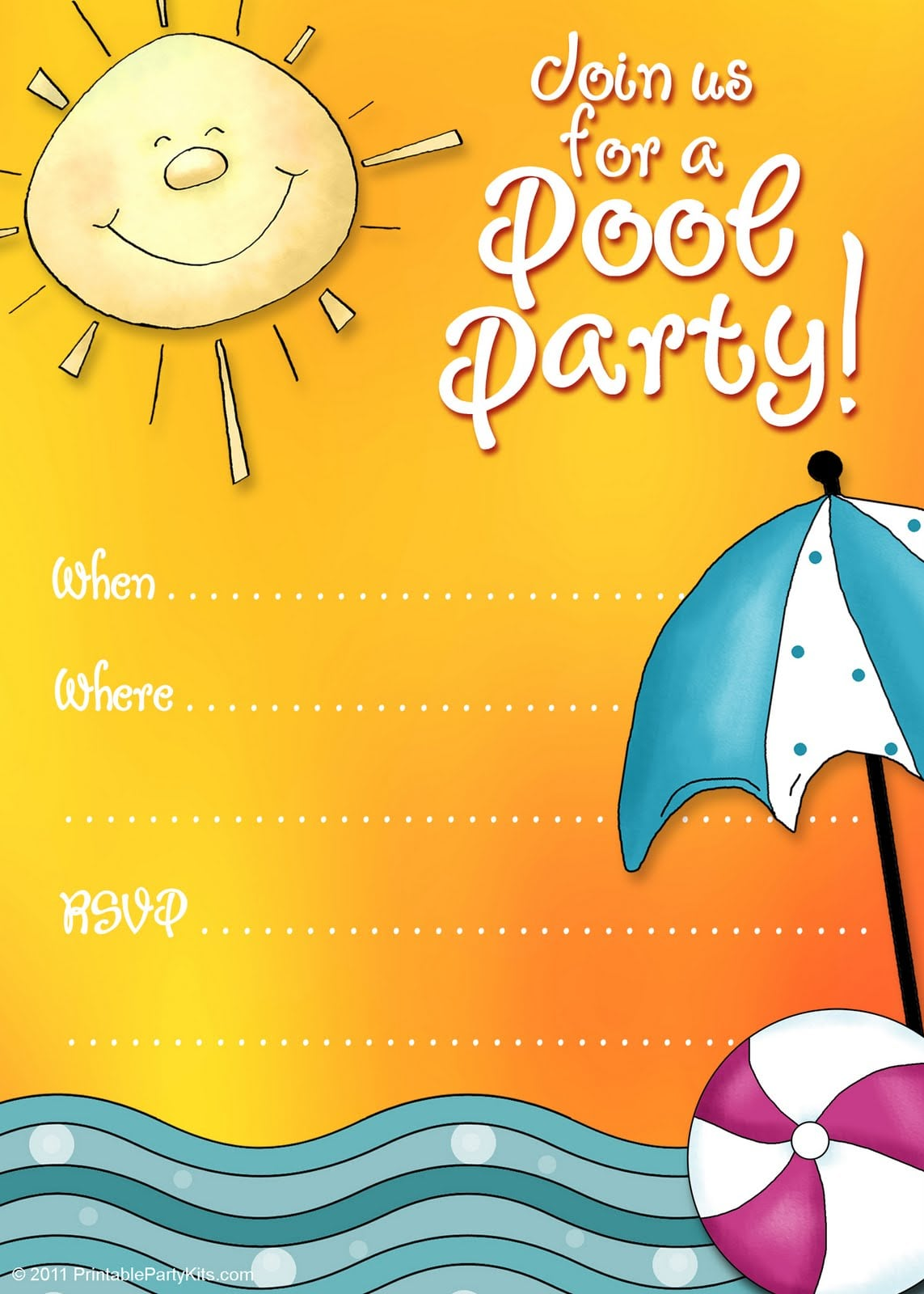 It is an image of Printable Pool Party Invitations in 4th july