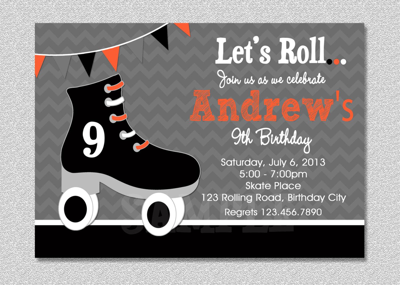 Free Printable Roller Skating Birthday Invitations