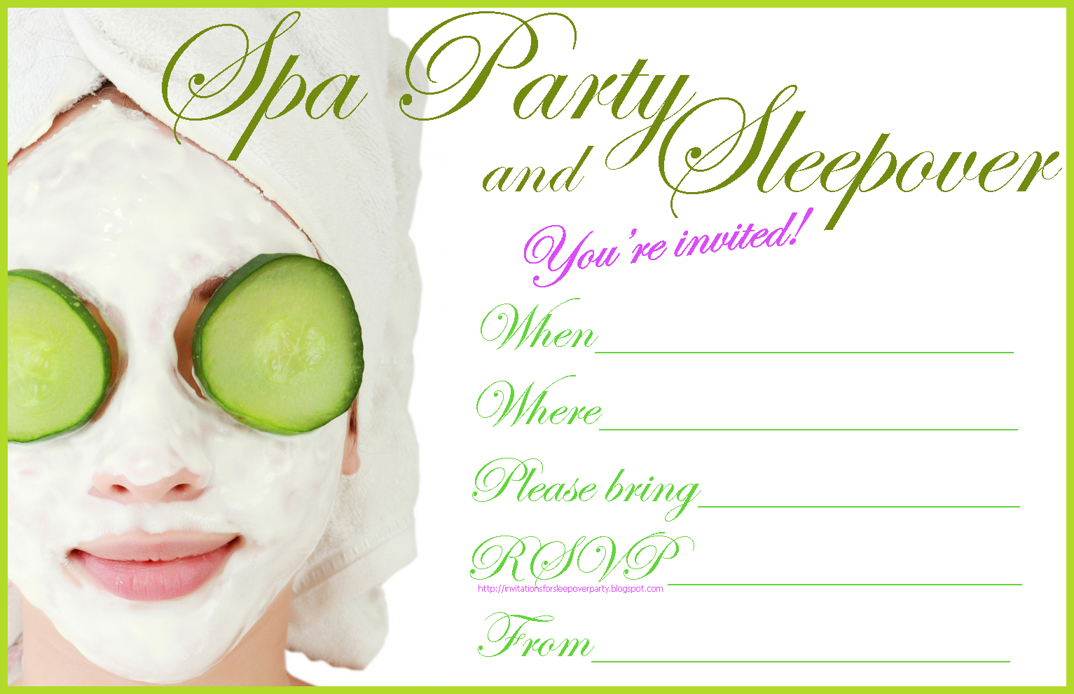 Spa Birthday Party Invitations Printables Free Oyle Kalakaari Co
