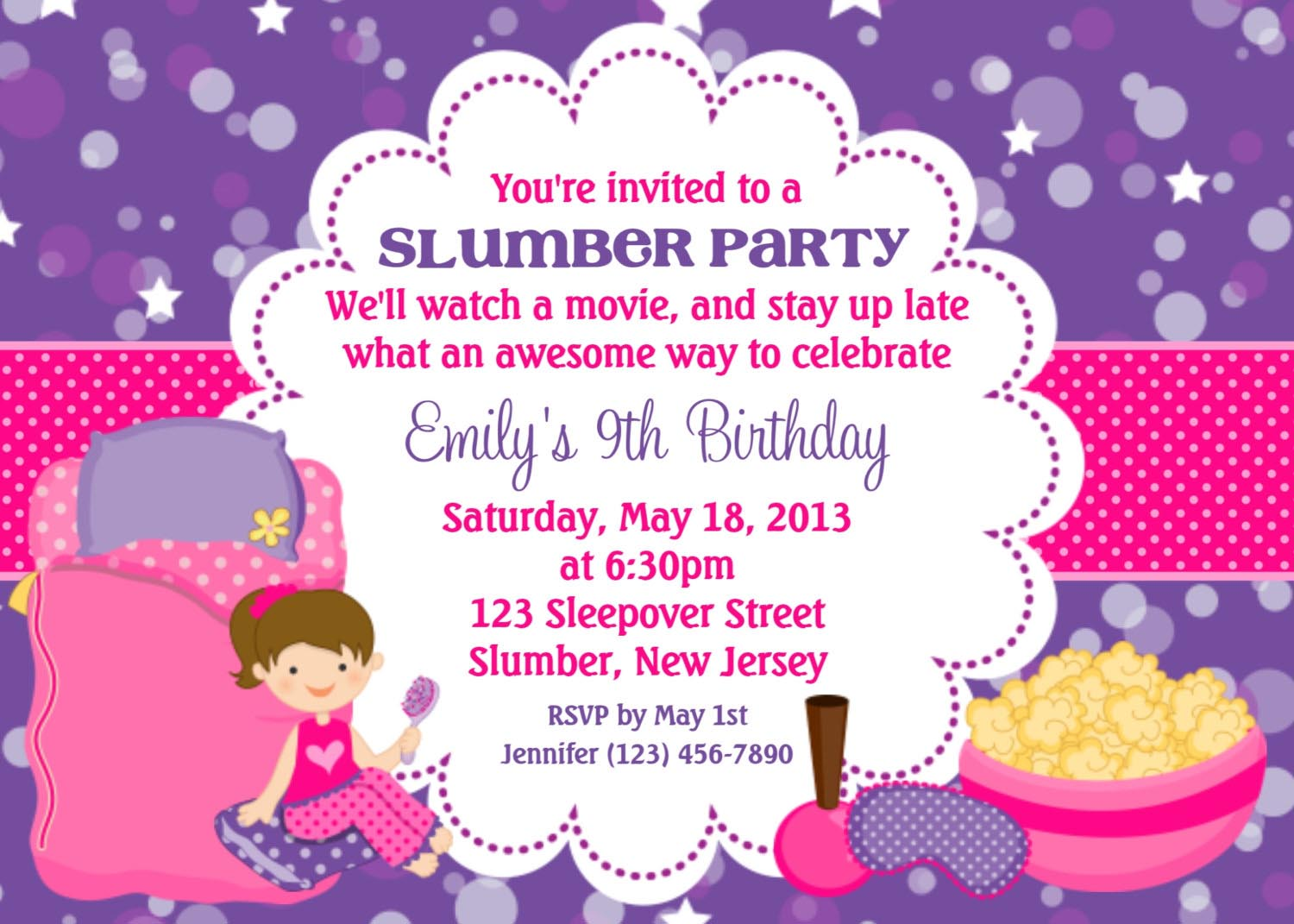 Pajama Party Invitations Free Printable creative business cards