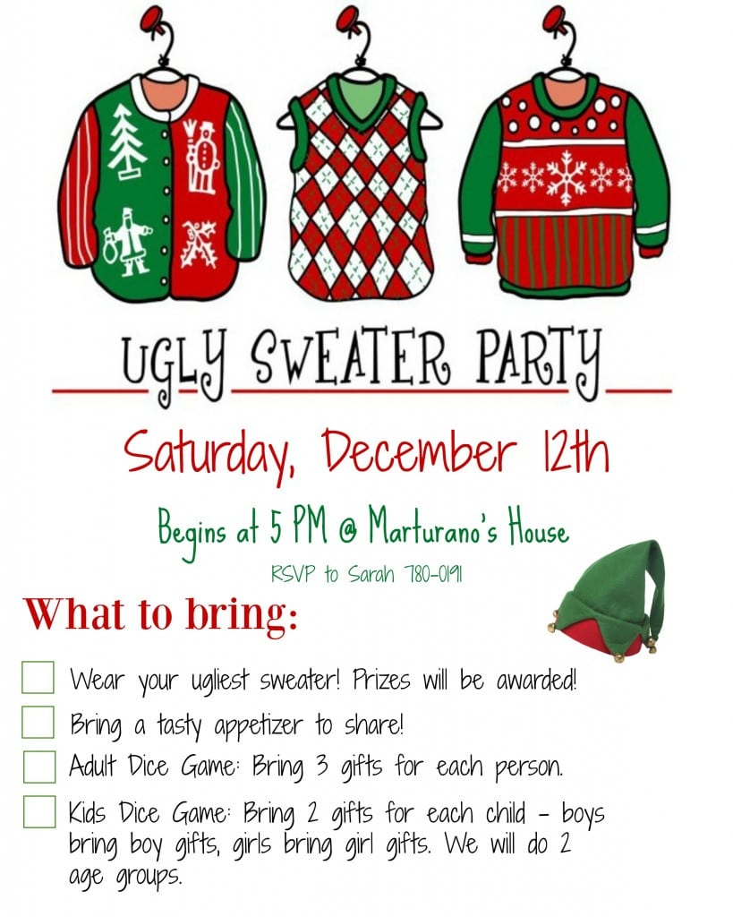 Free Ugly Sweater Party Invite Printable Christmas Invitations