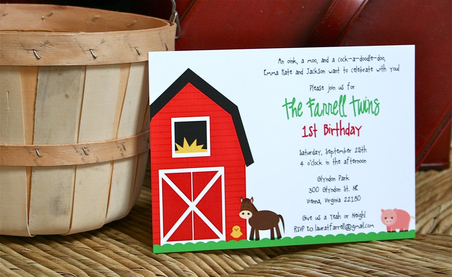 Fresh On The Farm Barnyard Party  Printable Invitation