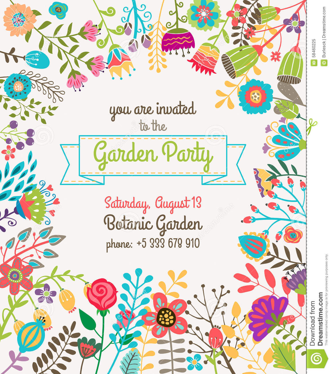 Garden Or Summer Party Invitation Template Poster Stock Vector