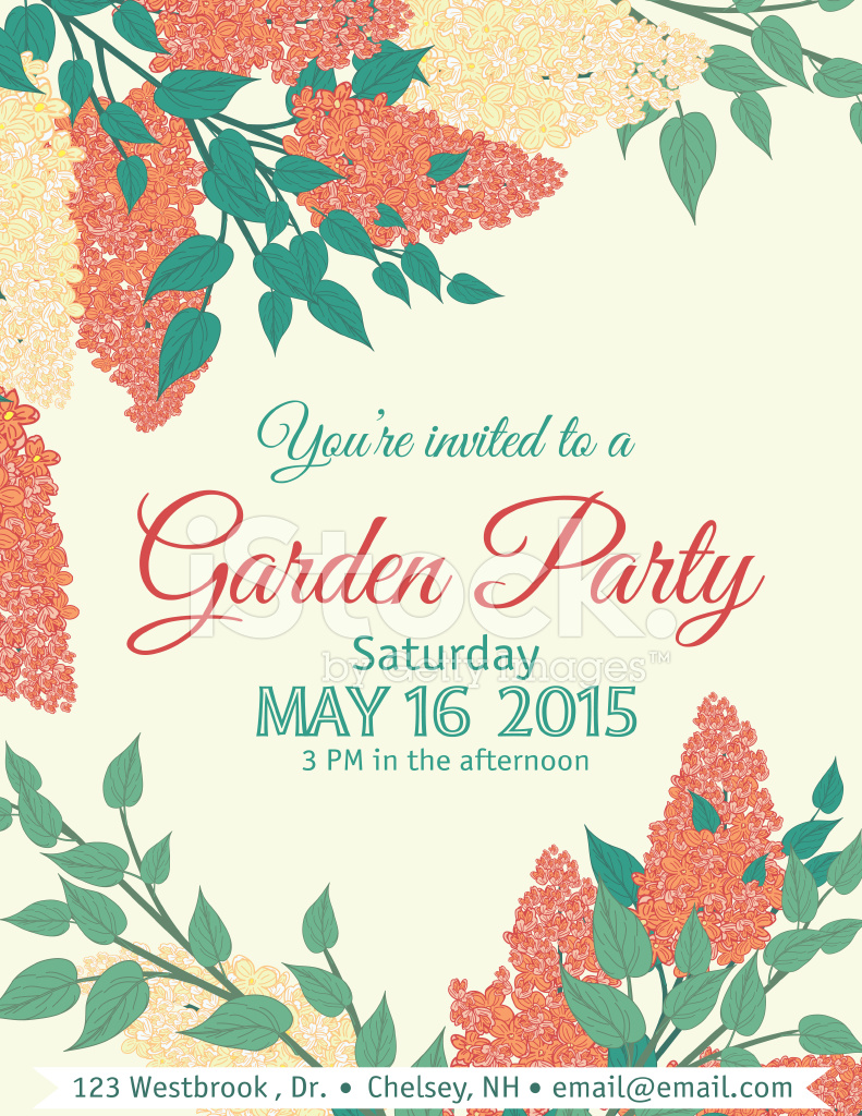Garden Party Invitation Template Stock Photos