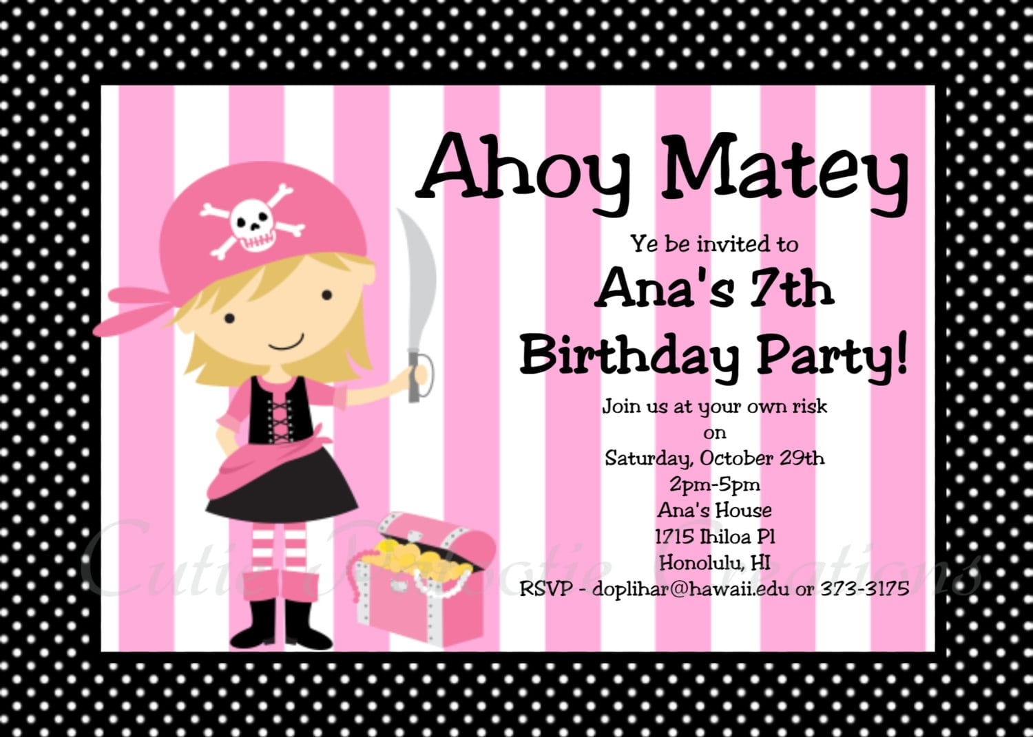 Girl Pirate Party Invitations - Mickey Mouse Invitations Templates