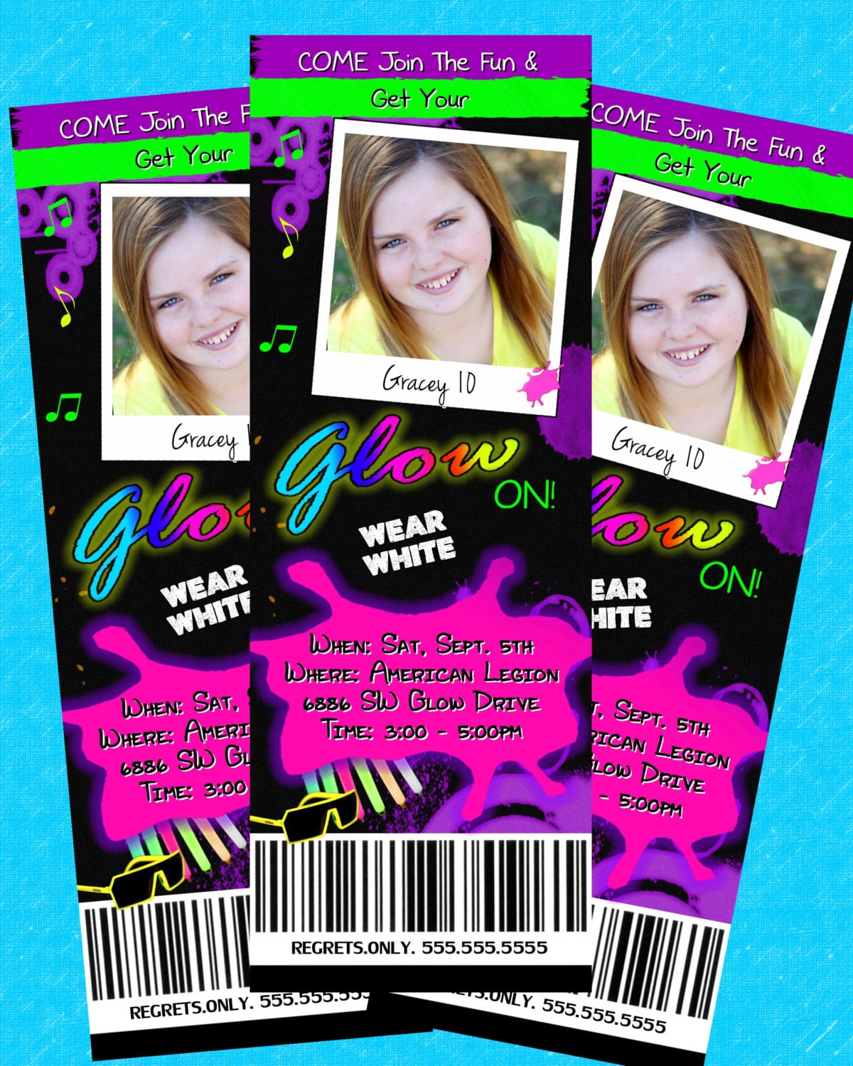Glow In The Dark Invitation Birthday Dance Tickets Neon Printable