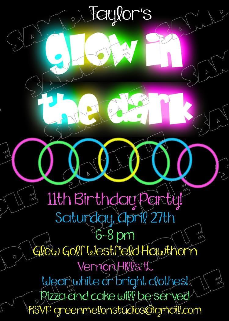 Glow In The Dark Invitations Bracelets Birthday Party